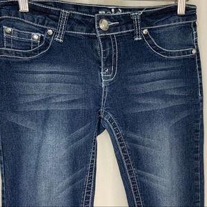 Reign Bling Jeans Medium Wash Fleur de Lis Back 9